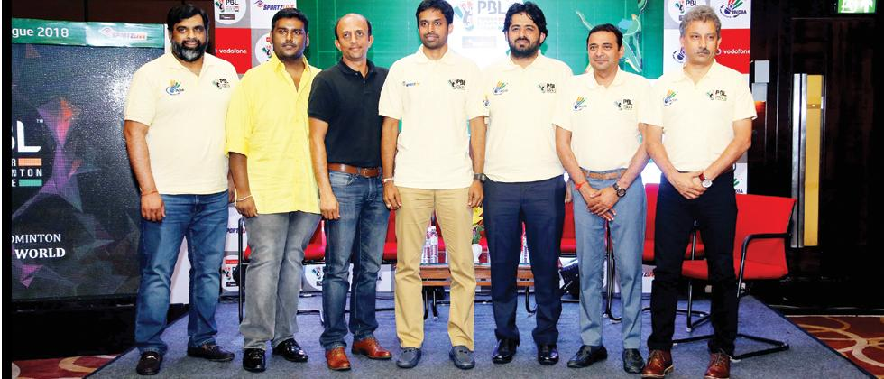 Team owners of Hyderabad Hunters, Chennai Smashers, Delhi Acers, Awadhe Warrior, Ahmedabad Smash Masters and Mumbai Rockets along with National Coach P Gopichand (center) during the PBL Season 3 launch in Chennai.