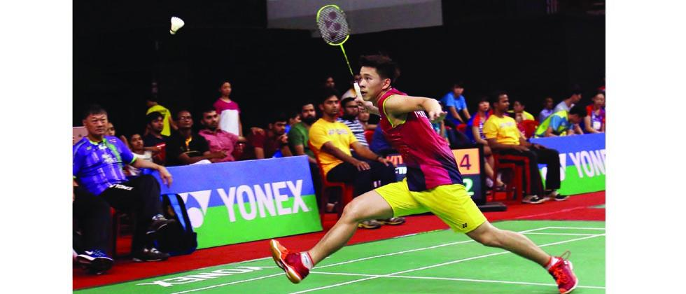 Thailand's Kunlavut Vitidsarn in action against India's Kartikey Gulshan Kumar during their semi-final match on Saturday.