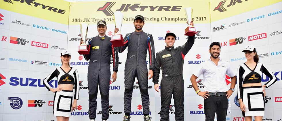 (left to right) Vishnu Prasad (2nd place), Anindith Reddy (1st place) and Ricky Capo (3rd place) pose with their trophies after the conclusion of Euro JK 17 of 20th JK Tyre FMSCI National Racing Championship  at the Kari Motor Speedway in Coimbatore on Su