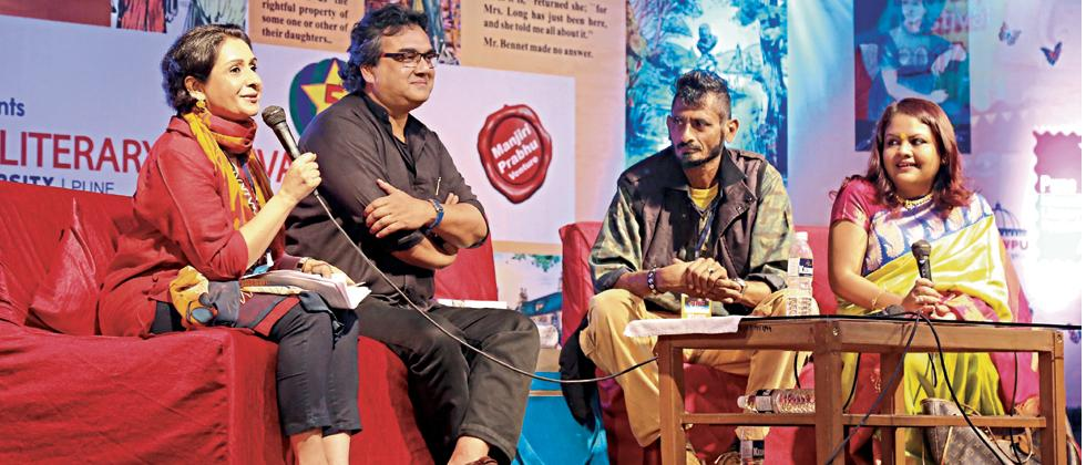 (l-r)Mona Verma, Sudeep Sen, R Raj Rao, and Sreemoyee Piu Kundu at the session — Sensuality through the senses, words and emotions — on Sunday