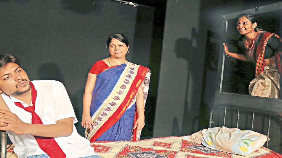 The cast of Pratibimb rehearsing for the play to be staged on September 15