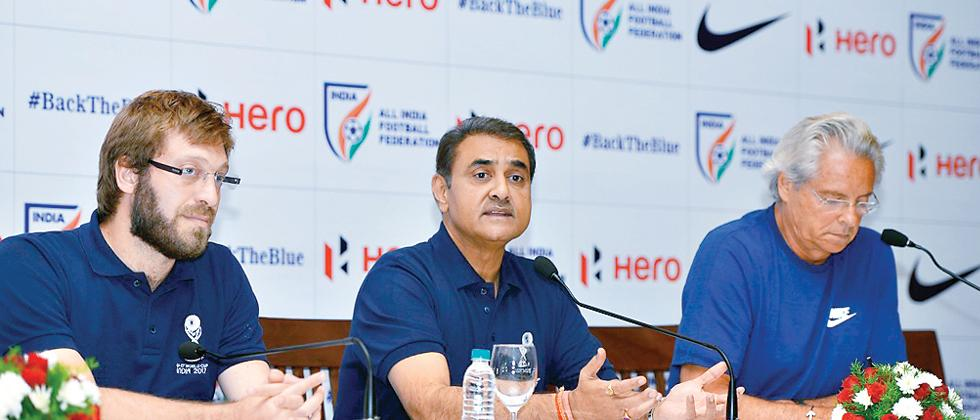 (from left) FIFA Under 17 World Cup tournament director Javier Ceppi, AIFF President Praful Patel and Indian team head coach Luis Norton de Matos.