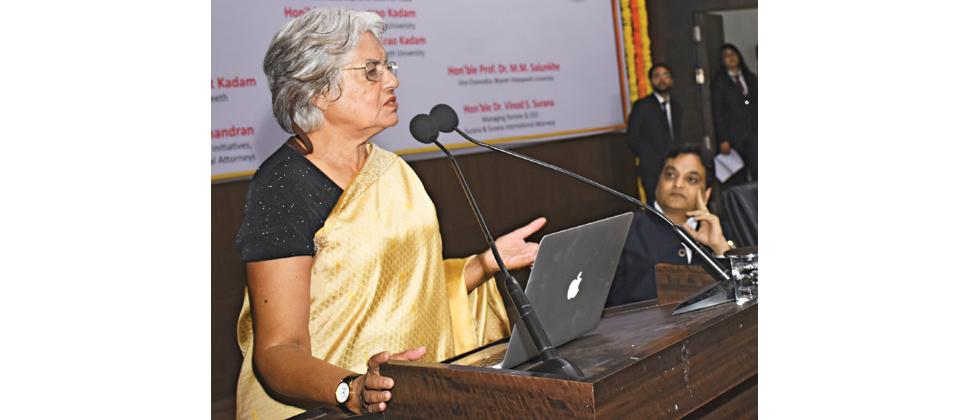 Senior advocate Indira Jaising speaks at the national trial advocacy moot court competition at Bharati Vidyapeeth Deemed University New Law College on Saturday.