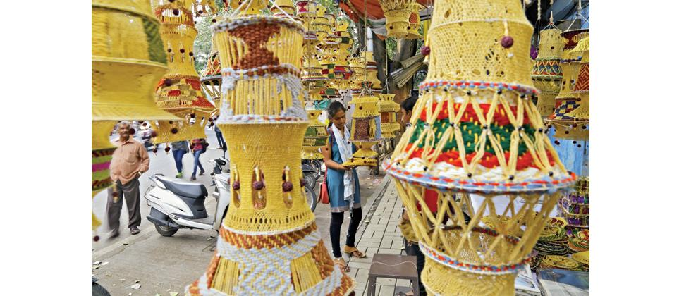 The market is flooded with Indian handmade Diwali goods like  lanterns, diyas, wall hangings and gift items.