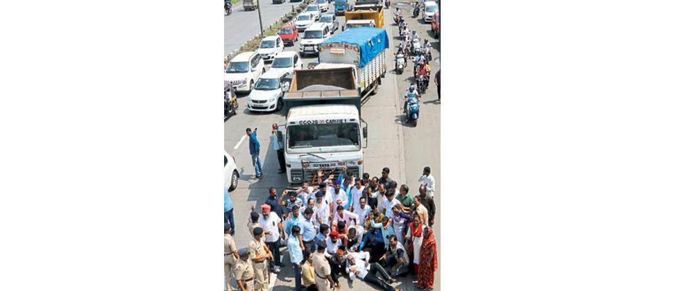 All India Motor Transport Congress and other transport associations of Maharashtra staged a protest against GST and other issues like hike in fuel prices and harassment, at Mankhurd in Mumbai, on Monday.