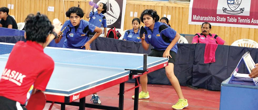 Pritha Vartikar (left) and Aneeha D'Souza in action on Wednesday.