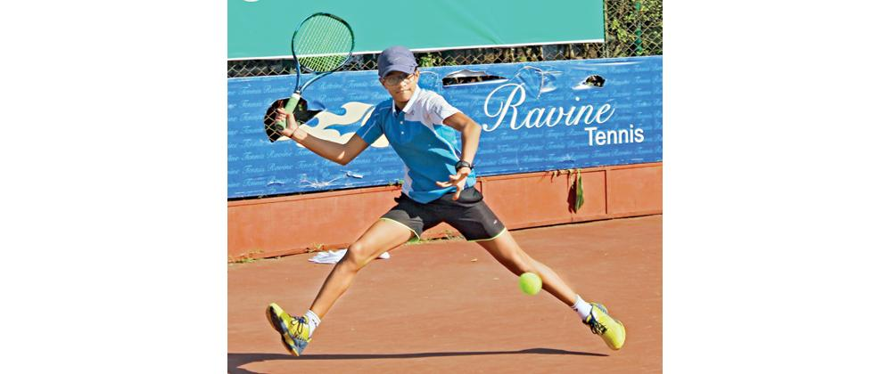Rutuja Chaphalkar in action at Ravine Hotel National Series Under-16 Tennis Tournament in Panchgani on Friday.