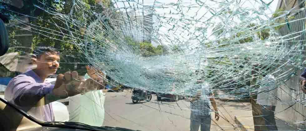 Ola and Uber drivers staged a protest outside Ola office in Mumbai, on Monday. The strike was called by Maharashtra Navnirman Vahatuk Sena.