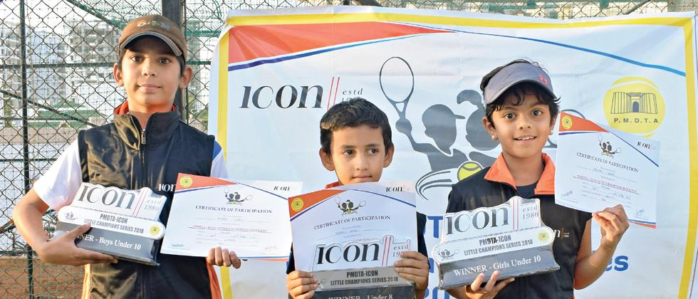 (from left) Avneesh Chafale, Namish Hood and Prisha Shinde pose with their trophies.