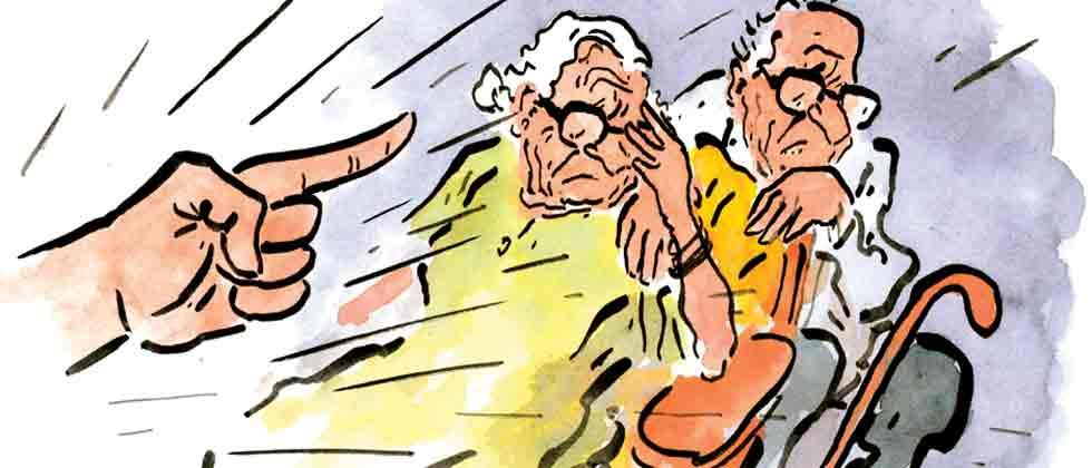 Artists make rangolis depicting harassment of senior citizens