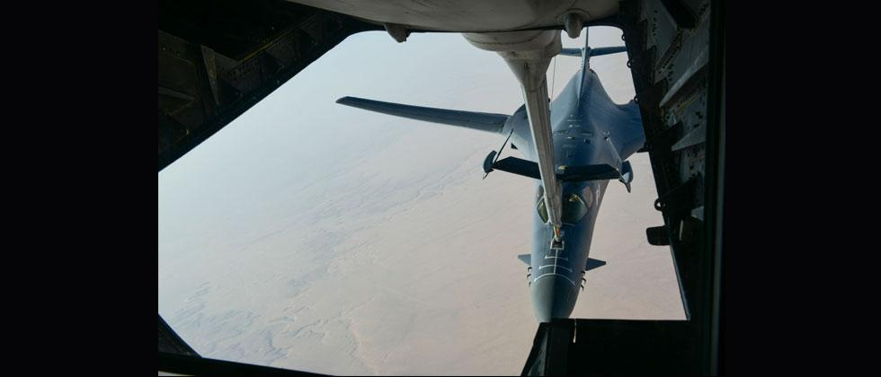 Image obtained from US Department of Defence, a US Air Force B-1 Bomber separates from the boom pod after receiving fuel from an Air Force KC-135 Stratotanker en route to strike chemical weapons targets in Syria. AFP PHOTO/US AIR FORCE/HO