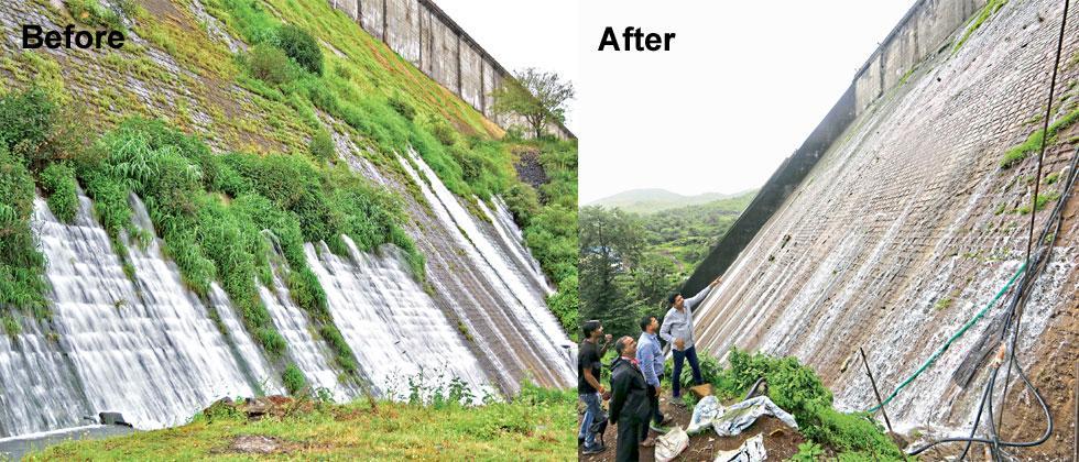 The water leakage of Temghar dam was reduced by 90 per cent. Gajendra Kalaskar/Sakal Times