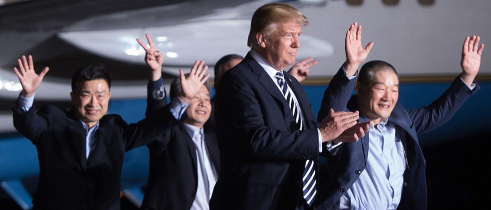 Trump welcomes Americans freed by North Korea back to the US