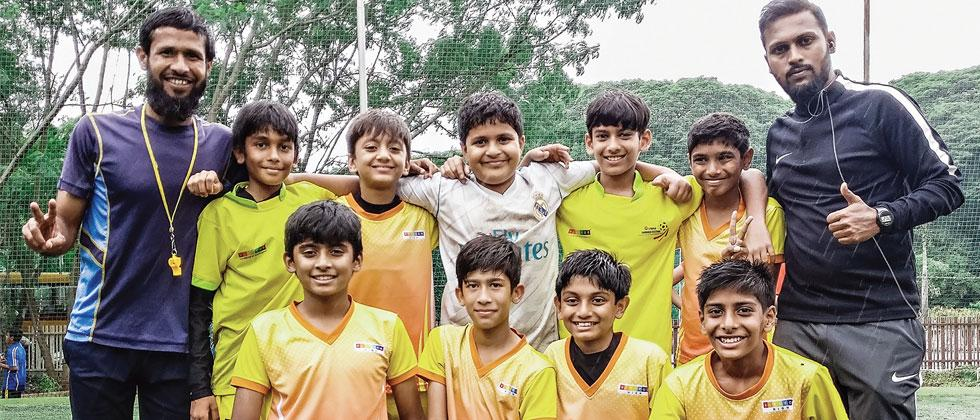 Vibgyor School 'A' team poses for a picture after winning Green Box Inter School Under-12 Football Championship