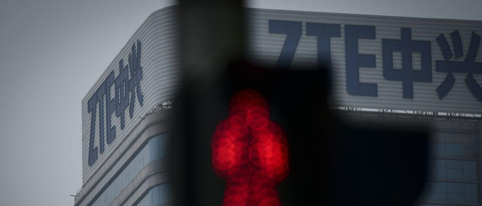 The ZTE logo is seen on a building in Beijing on Monday.