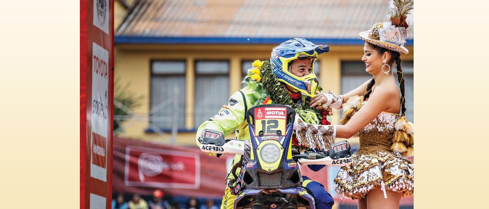 Juan Pedrero Garcia of Spain, lead rider of Sherco TVS Rally Factory team being welcomed in La Paz as Dakar Rally 2018 entered Bolivia from Peru during the sixth Stage