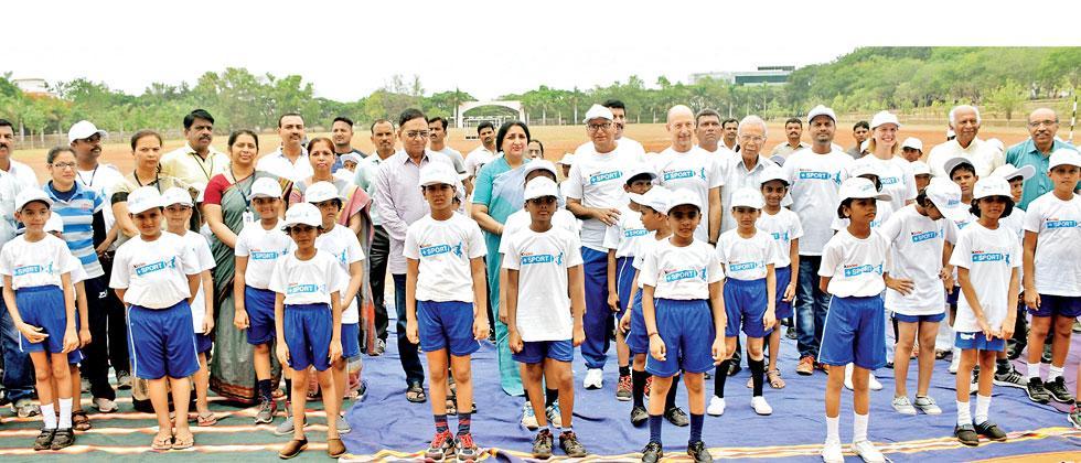 Children attending kinder+sport 'joy of moving' camp in Baramati