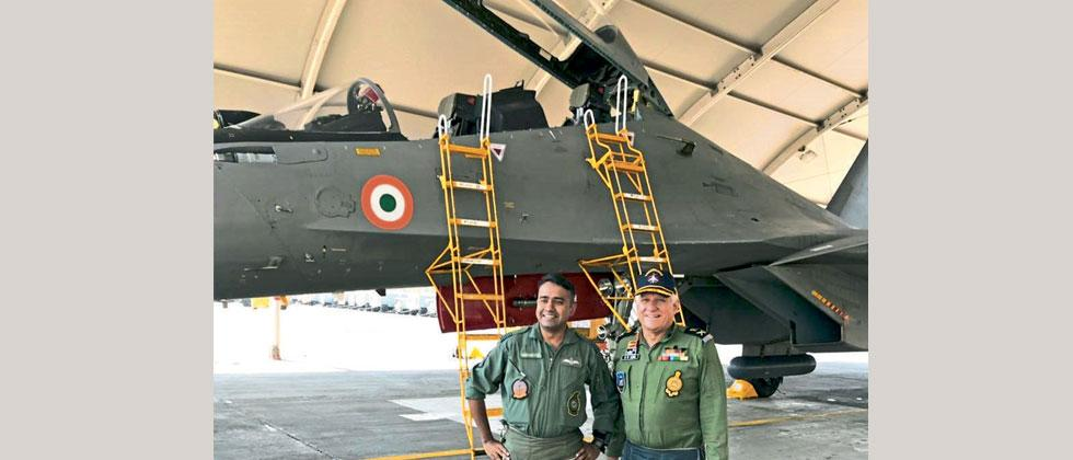 Lt Gen DR Soni with Wg Cdr Tarun Gupta just before take off in a Sukhoi SU-30 at Air Force Station Pune