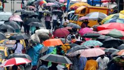 Hundreds of colourful umbrela during the heavy rain in Mumbai on Wednesday