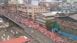 Maratha Kranti Morcha rally on JJ bridge, Mumbai on Wednesday.