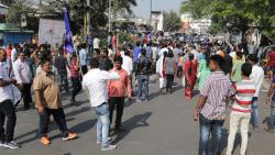 Protestors blocking road at Ambedkar chowk at old Pune-Mumbai road