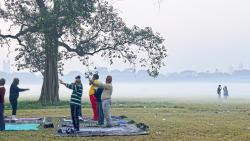 Senior citizens exercising on a foggy morning at Maidan, Kolkata (Pic: Debarchan Chatterjee)