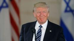 This file photo taken on May 23, 2017 shows US President Donald Trump speaking during a visit to the Israel Museum in Jerusalem