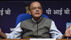 Finance Minister Arun Jaitley speaks during a press conference in New Delhi on Monday.