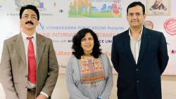Dr RM Chitnis, Dr Manjiri Prabhu and Bharat Agarwal at the press conference of the sixth edition of Pune International Literary Festival