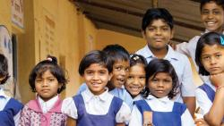 A file photo of a group of school students in a rural government school