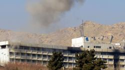 Smoke billows from the Intercontinental Hotel during a fight between gunmen and Afghan security forces in Kabul on January 21, 2018. Pic - AFP