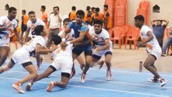 Nilesh Tambe and Ajay Chauhan of Parva Krida Sanstha catch Gopal Choudahry (blue) of Sai Sports at Rajaram Bhiku Pathare Stadium Kharadi on Saturday