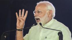 Prime Minister Narendra Modi addresses during the inauguration of 135km long Eastern Peripheral Expressway (NH-II) connecting Kundli to Palwal, at Bagpat, in Uttar Pradesh, on Sunday. Vijay Verma/PTI