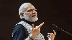 Prime Minister Narendra Modi addresses the Indian Community in Stockholm, Sweden on Tuesday. PTI Photo/PIB