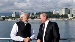 Narendra Modi with the Russian President Vladimir Putin, at Sochi, Russia on Monday. PTI Photo/PIB