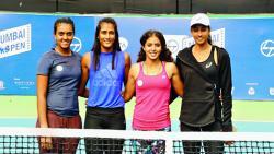 Four Indians Wildcards Zeel Desai, Rutuja Bhosale, Ankita Raina, Karman Kaur Thandi pose for the picture.