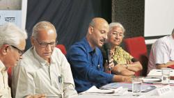 Pradeep Purandare, DM More, Abhijeet Ghorpade, Medha Patkar and Vidyanand Ranade (L to R) at the discussion on Narmada