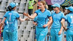 Supernovas' Ellyse Perry celebrates castling Smriti Mandhana of the Trailblazers at the Wankhede Stadium in Mumbai
