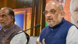 BJP National President Amit Shah addresses the media at BJP State Office at Nampally in Hyderabad on Saturday.
