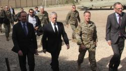 US Defense Secretary Jim Mattis (2nd L) arrives at NATO's Resolute Support mission in Kabul on Wednesday.