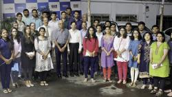 Pratap Pawar, Chairman of Sakal Media Group, and S Padmanabhan, Vice President of Sakal India Foundation, along with the students who were given the free-loan scholarships on Monday.