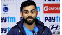 India's captain Virat Kohli reacts during a press conference in Nagpur on Thursday, ahead of the 2nd test match against Sri Lanka. PTI Photo