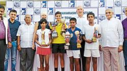 All the winners and runners-up pose for a picture after the conclusion of  the 12th Ramesh Desai Memorial Sub Junior Tennis (Under -12) tournament