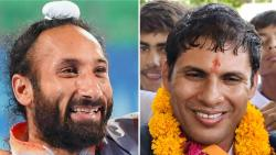 File pictures of former hockey captain Sardar Singh (L) and two-time Paralympic gold medallist Devendra Jhajharia who were on Thursday recommended for the countrys highest sporting honour, the Rajiv Gandhi Khel Ratna award.
