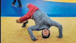 Indian wrestler Bajrang Punia during a training session ahead of the 18th Asian Games 2018, in Jakarta
