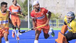Indian hockey players in action during a camp