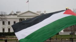 Palestine flag waves in front of the White House on the margin of a protest against Donald Trump's declaration of Jerusalem as Israel's capital. UN held an emergency session to discuss the move, which has drawn universal condemnation