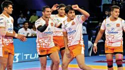 Puneri Paltan players Deepak Hooda, Sandeep Narwal, Ziaur Rahman, Girish Ernak celebrates after Monu completes successful raid against Bengal Warriors at The Arena Stadium in Ahmedabad on Tuesday.