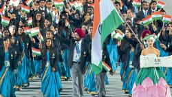 File photo of Indian delegation led by flagbearer Sardar Singh enters the arena during the opening ceremony of the 2014 Asian Games in Incheon, Korea