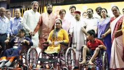The Minister of Social Justice and Empowerment, Thawar Chand Gehlot, distributed 100 folding wheel chairs to specially abled citizens in Pune